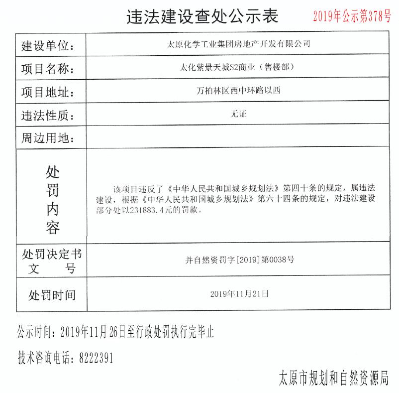 太原化工集团违建公示表