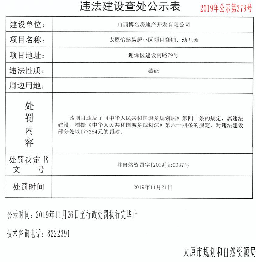 山西博名房地产开发有限公司违建公示表